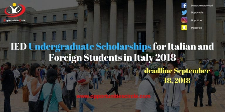 IED Undergraduate Scholarships for Italian and Foreign Students in Italy 2018