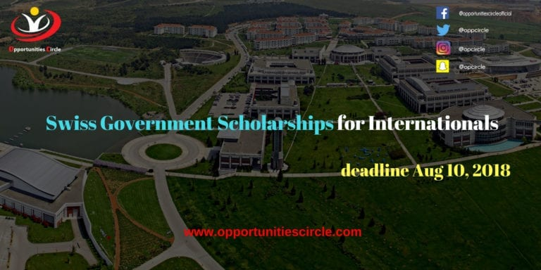 Swiss Government Scholarships for Internationals