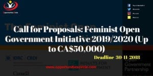 Call for Proposals Feminist Open Government Initiative 300x150 - Call for Proposals: Feminist Open Government Initiative 2019/2020 (Up to CA$50,000)