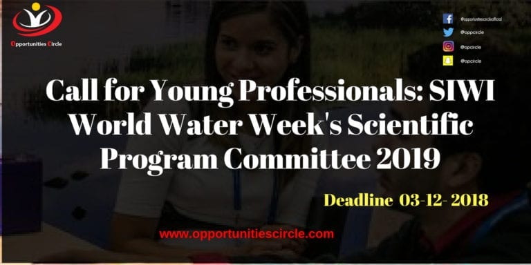 Call for Young Professionals SIWI World Water Weeks Scientific Program Committee 2019 1 768x384 - Call for Young Professionals: SIWI World Water Week's Scientific Program Committee 2019