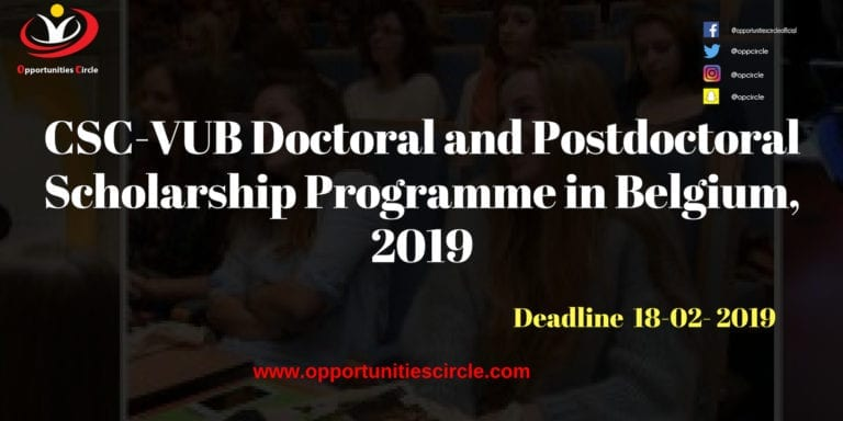 Doctoral and Postdoctoral Scholarship Programme 768x384 - CSC-VUB Doctoral and Postdoctoral Scholarship Programme in Belgium, 2019