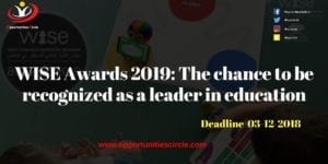 WISE Awards 2019 The chance to be recognized as a leader in education 300x150 - WISE Awards 2019: The chance to be recognized as a leader in education