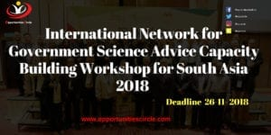 Workshop for South Asia 300x150 - International Network for Government Science Advice Capacity Building Workshop for South Asia 2018 (Funded)