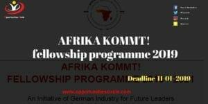 AFRIKA KOMMT fellowship 300x150 - AFRIKA KOMMT! fellowship programme 2019