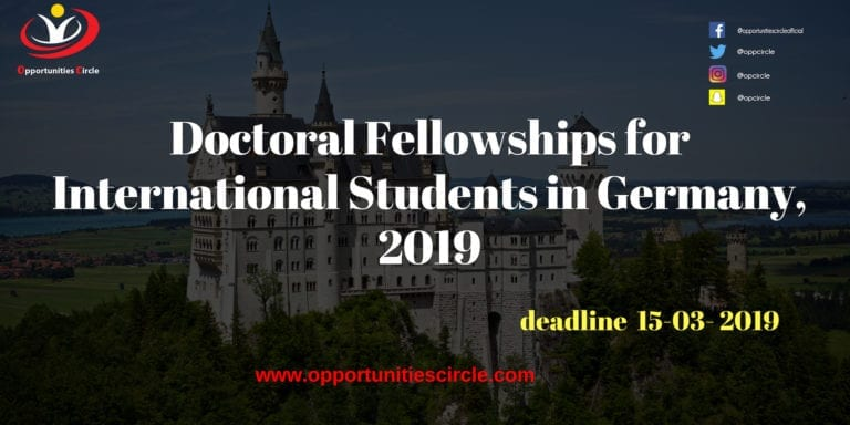 Doctoral Fellowships for International Students in Germany, 2019