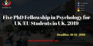 Five PhD Fellowship in Psychology 300x150 - Five PhD Fellowship in Psychology for UK/EU Students in UK, 2019