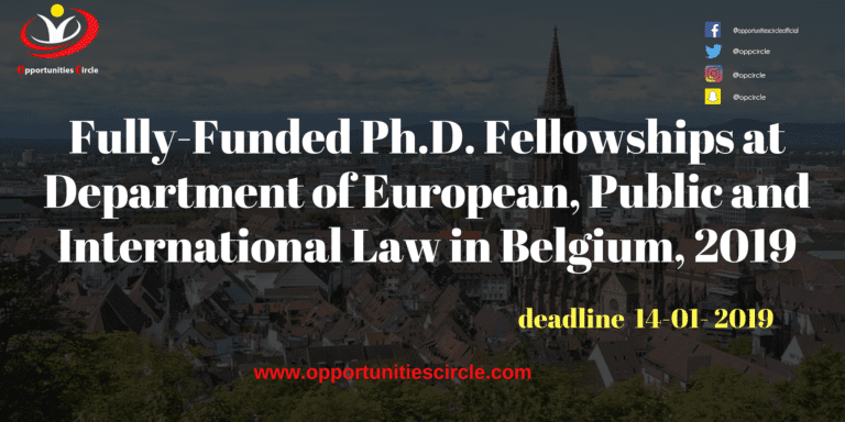 Fully-Funded Ph D  Fellowships at Department of European, Public and