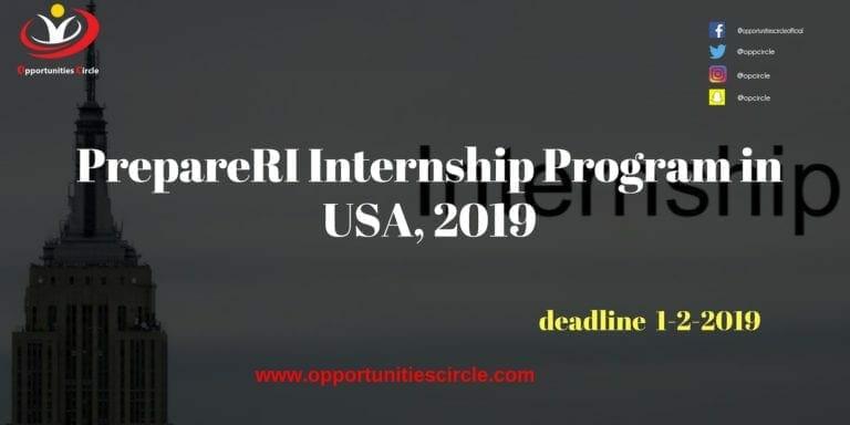 PrepareRI Internship Program in USA, 2019