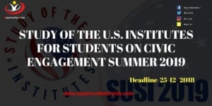 STUDY OF THE FOR STUDENTS 300x150 - STUDY OF THE U.S. INSTITUTES SUSI FOR STUDENTS ON CIVIC ENGAGEMENT SUMMER 2019