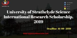 University of Strathclyde 300x150 - University of Strathclyde Science International Research Scholarship, 2019