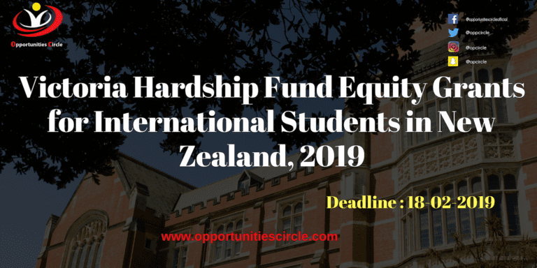 Victoria Hardship Fund Equity Grants for International Students in New Zealand, 2019