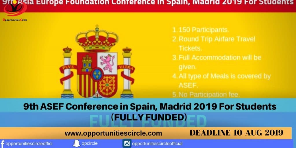 9th ASEF Conference in Spain, 2019 (Fully Funded)