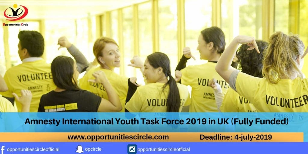 Amnesty International Youth Task Force 2019 in UK (Fully Funded)